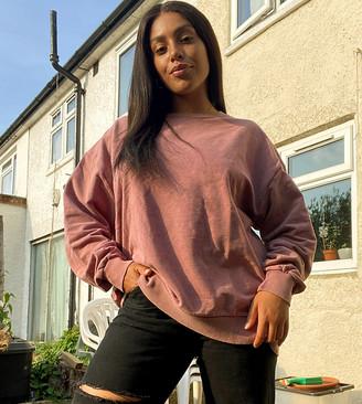Asos DESIGN Curve oversized washed sweatshirt in blush