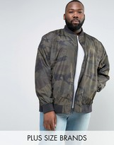 Jacamo Plus Bomber Jacket With Camo Print In Khaki