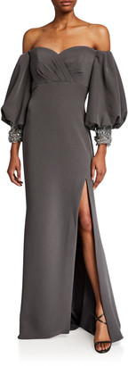 Badgley Mischka Couture Oversized Off-the-Shoulder Sleeve Embroidered Sweater