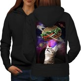 Space Burger Cat Fun Kitten Eat Women L Hoodie Back | Wellcoda