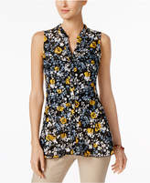 Charter Club Sleeveless Floral-Print Lace Shirt, Only at Macy's