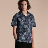 Burberry Short-sleeved Peony Rose Print Pyjama-style Shirt , Size: Xs, Blue