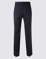 M&S Collection Regular Fit Textured Flat Front Trousers