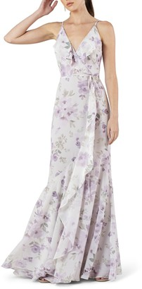 Jenny Yoo Collection Ensley Painted Petals Faux Wrap Trumpet Gown