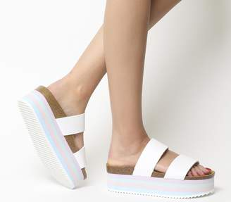Office Mambo Striped Sole Two Strap Sandals White Pastels