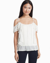 White House Black Market Embroidered Cold-Shoulder Top