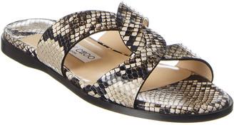 Jimmy Choo Atia Snake-Embossed Leather Sandal