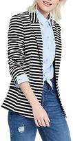 Oasis Stripe Ponte Jacket, Black/White