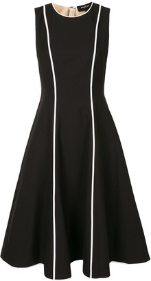 Paule Ka Contrast Piping Midi Dress