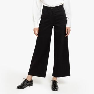 "La Redoute Collections Cotton Wide Leg Trousers, Length 25.5"""