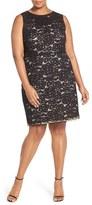 Ellen Tracy Plus Size Women's Sleeveless Lace Sheath Dress