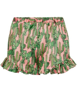 Phoebe Grace Silke Frill Shorts In Pink Cactus Print