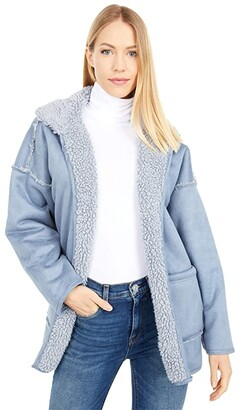 Dylan by True Grit Malibu Sherpa-Suede Reversible Cardi Coat (Denim) Women's Clothing
