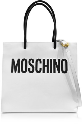 Moschino White and Black Signature Leather Vertical Tote