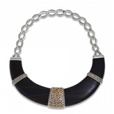 Luz Hissia ebony and topaz bib necklace