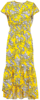 Walter Baker Shirred Gathered Floral-print Crepe Dress