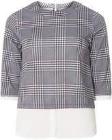 Dorothy Perkins Petite Navy and Red Checked 2-In-1 Top