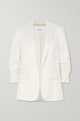 Frame Pinstriped Pleated Linen-blend Blazer