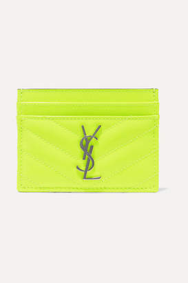 Saint Laurent Monogramme Quilted Neon Textured-leather Cardholder - Yellow