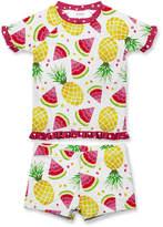 Penelope Plumm Girls' Rashguards - White Watermelon Pineapple Rashguard Set - Toddler & Girls