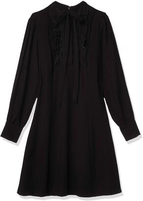 Nanette Lepore Women's L/s High Tie Neck Dress W/Ruffle