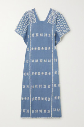 Pippa Holt - + Net Sustain Embroidered Cotton Kaftan - Dark denim