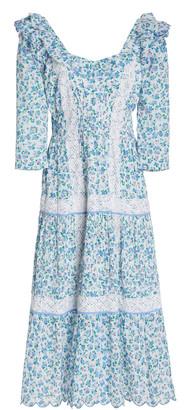 LoveShackFancy Arcadia Long Sleeve Cotton Midi Dress