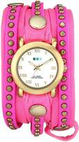 La Mer Women's LMSW4000 Layered and Studded Neon Pink and Gold Bali Wrap Watch