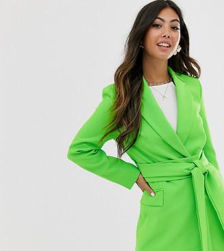 Asos DESIGN petite wrap belted suit blazer in pop green