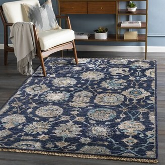 Surya Hesston Floral Hand-Knotted Navy/Taupe Area Rug Rug Size: Rectangle 9' x 13'