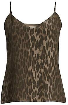 L'Agence Women's Jane Leopard Print Silk Tank Top