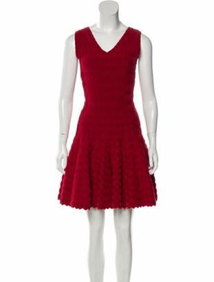 Alaia V-Neck Mini Dress Red