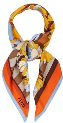 Fendi Floral-print & Striped Silk Scarf - Orange