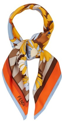 Fendi Floral-print & Striped Silk Scarf - Womens - Orange