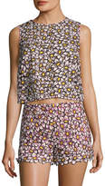 RED Valentino Women's Silk Floral Embroidery Top
