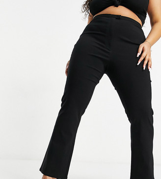 ASOS DESIGN Curve bengaline stretch flare in black