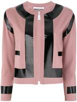 Moschino patent effect contrast cardigan