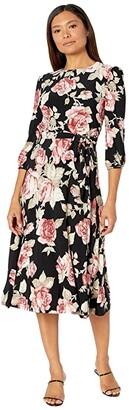 Lauren Ralph Lauren Felia Dress (Black/Garnet/Multi) Women's Dress
