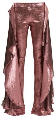 Paula Knorr - Relief High-rise Ruffled Silk-blend Lame Trousers - Womens - Pink
