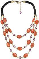 Gottex 18K Plated Coral & Crystal Necklace