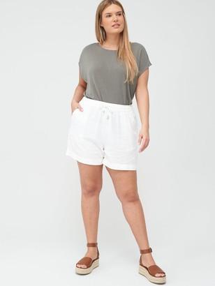 V By Very Curve Linen Blend Short - White