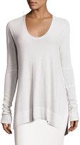 Urban Zen Long Knit Scoop-Neck Sweater, White Smoke
