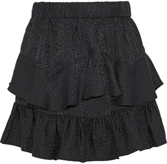 IRO Faklie Tiered Silk-jacquard Mini Skirt