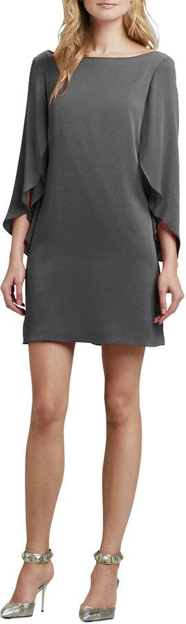 Milly Butterfly-Sleeve Short Shift Dress