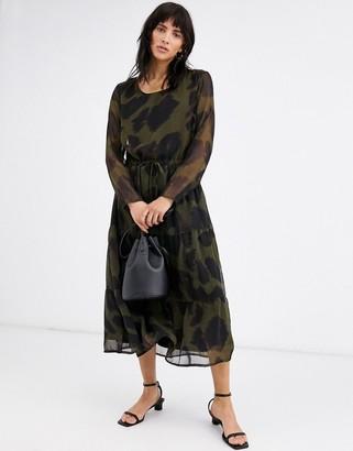 Ichi leopard print midi dress-Multi