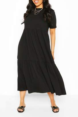 boohoo Plus Tiered Cotton Smock Midi Dress