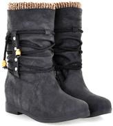 Butiti BUTITI Women's Cold Weather Boots black - Black Tie-Detail Knit-Trim Boot - Women