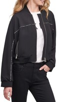 Thumbnail for your product : DKNY Cropped Print Detail Bomber Jacket Black