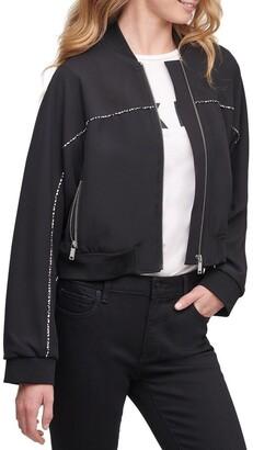 DKNY Cropped Print Detail Bomber Jacket Black