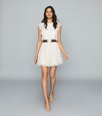 Reiss Valerie - Floral Print Mini Dress in Cream